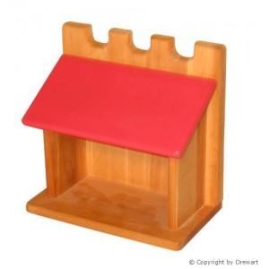 Drewart Großer Stall mit rotem Dach - Holzspielzeug-Profi