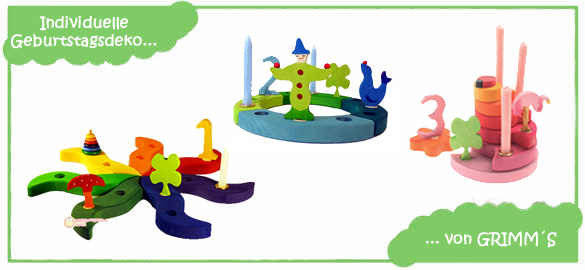 GRIMM´S Geburtstagsdekoration: ganz individuell zusammenstellbar beim Holzspielzeug Profi