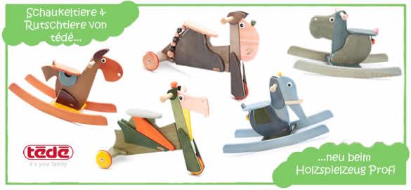 Schaukeltiere & Rutschtiere von tédé beim Holzspielzeug Profi
