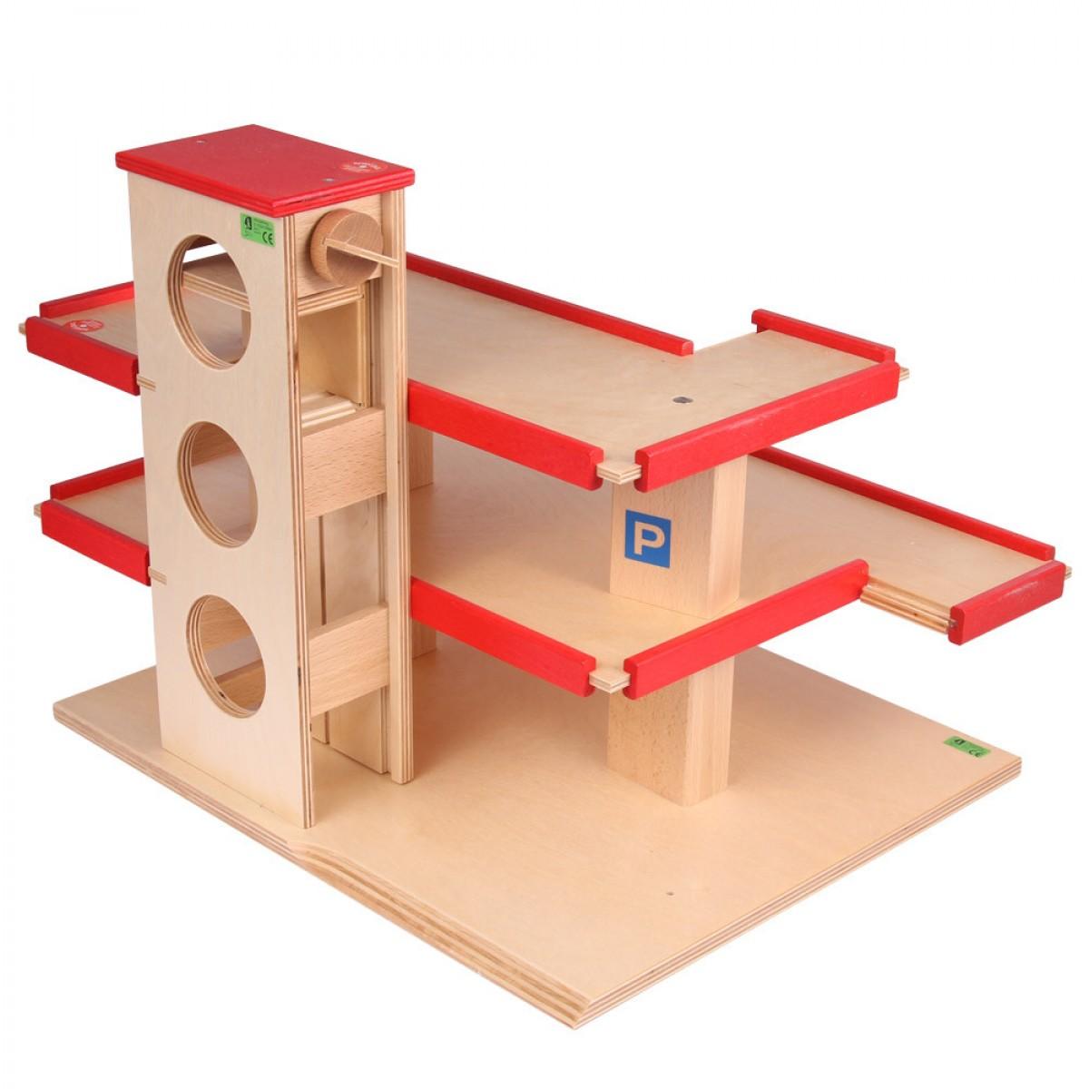 Beck parkhaus mit roter umrandung holzspielzeug profi
