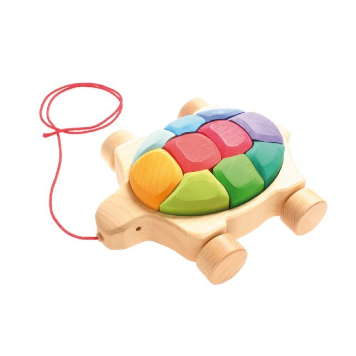 Nachziehtier regenbogen schildkr te von grimm s for Holzspielzeug profi