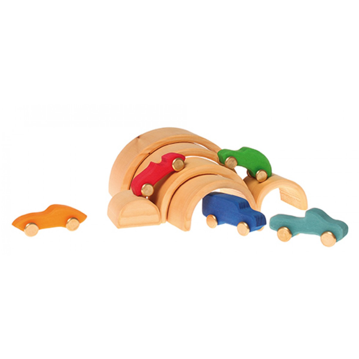 Holzspielzeug Motorikspielzeug Grimms 10680 Tunnelsatz natur 6 teilig