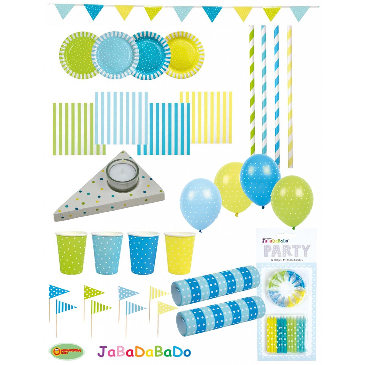 JaBaDaBaDo Party Set Dots Blau Gelb 100 Teile