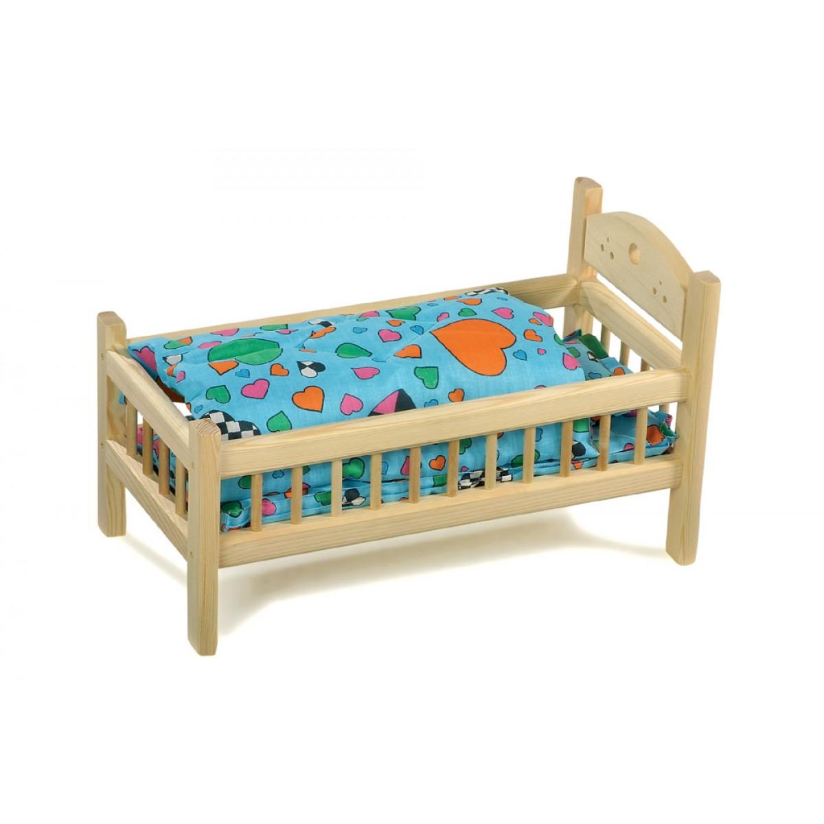 puppenbett aus holz kindertr ume vom holzspielzeug profi. Black Bedroom Furniture Sets. Home Design Ideas