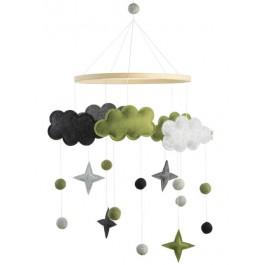 Baby Bello Filz-Mobile Fantasy Clouds Wolken Mobile in grün - Holzspielzeug Profi