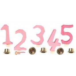 GRIMM´S Zahlenstecker 1-5, rosa mit Messinghaltern