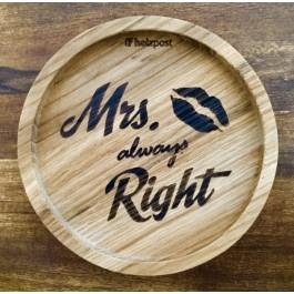 """Holzpost® Untersetzer Bierdeckel """"Mrs. always Right"""" - Holzspielzeug Profi"""