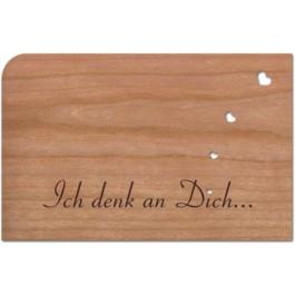 """Holzpost Grußkarte """"Ich denk an Dich"""": Vorderseite - Holzspielzeug Profi"""