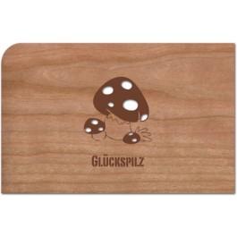 "Holzpost Grußkarte ""Glückspilz"" - Holzspielzeug Profi"