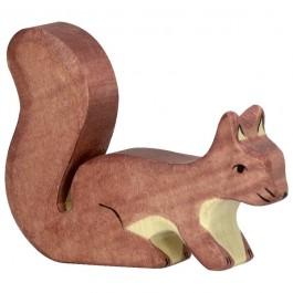 Holztiger Braunes Eichhörnchen sitzend - Holzspielzeug Profi