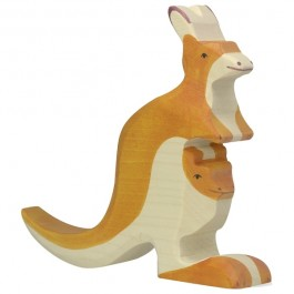 Holztiger Känguru mit Jungem - Holzspielzeug Profi