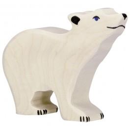 Holztiger Eisbär klein, Kopf hoch - Holzspielzeug Profi