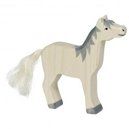 HOLZTIGER Helles Pferd mit Kopf hoch und grauer Mähne - Holzspielzeug Profi