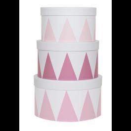 JaBaDaBaDo Aufbewahrungsbox rund in rosa-weiß im 3er Set - Holzspielzeug Profi