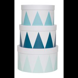 JaBaDaBaDo Aufbewahrungsbox rund in blau-weiß im 3er Set - Holzspielzeug Profi