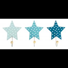 JaBaDaBaDo Wandhaken Sterne hellblau - blau - dunkelblau (3er Set) - Holzspielzeug Profi