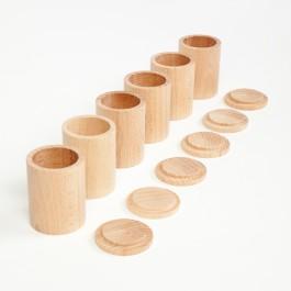 Grapat Becher mit Deckel natur (Cups with Lid) - Holzspielzeug Profi
