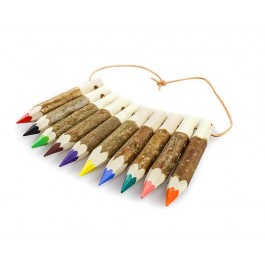 Kunterbunt Holzzstifte: Stiftekette 10er Set (Farben können abweichen!) - Holzspielzeug Pofi