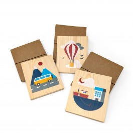 Lubulona Holzbilder Illustration Ballon, Boot & Bus im 3er Set - Holzspielzeug Profi