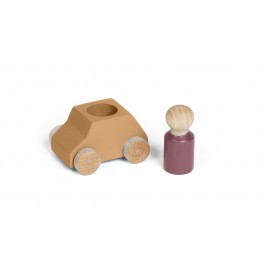 Lubulona Ockerfarbenes Spielzeugauto mit brauner Holzfigur - Holzspielzeug Profi