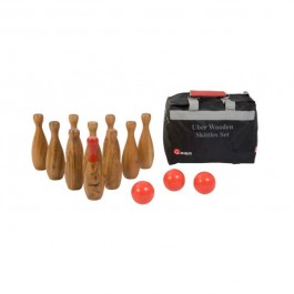 Übergames Bowlingspiel mit 10 Kegeln, 3 Holzkugeln & Tasche