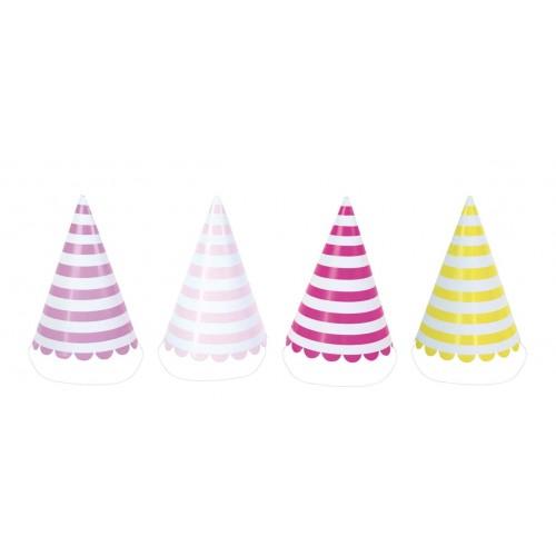 jabadabado party h te streifen pink als 8er set beim. Black Bedroom Furniture Sets. Home Design Ideas
