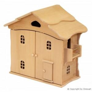 Drewart Puppenhaus mit Türen aus Erle: Vorderseite - Holzspielzeug Profi