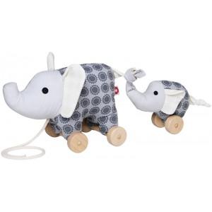 FRANCK & FISCHER Nachziehtier Elefant Noma mit Baby in grau - Holzspielzeug Profi