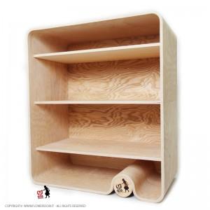 Flowerssori Bücherregal Cat 3 mit Rückwand: seitliche Ansicht - Holzspielzeug Profi