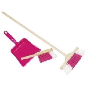 goki Kinderbesen-Set mit Handfeger und Kehrblech in pink - Holzspielzeug Profi