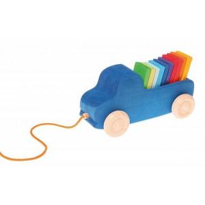 GRIMM´S Blauer Lastwagen zum Hinterherziehen mit bunter Ladung - Holzspielzeug Profi