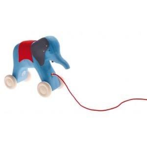 GRIMM´S Nachziehtier  Blauer Elefant - Holzspielzeug Profi