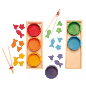 RIMM´S Großes Sortierspiel Regenbogenschälchen -  Holzspielzeug Profi
