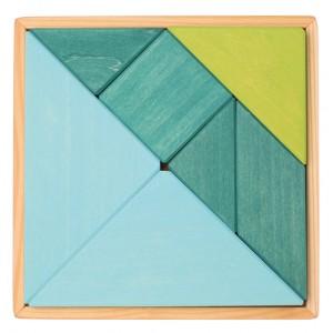 GRIMM´S Tangram blau-grün - Holzspielzeug Profi