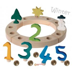 GRIMM´S Geburtstagsdeko Kleiner Ring Winter natur - Holzspielzeug Profi