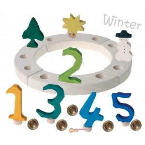 GRIMM´S Geburtstagsdeko Kleiner Ring Winter weiß - Holzspielzeug Profi