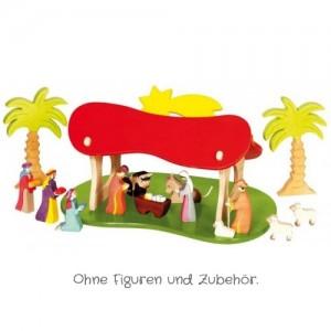 HOLZTIGER Weihnachtskrippe / Stall (ohne Figuren) - Holzspielzeug Profi