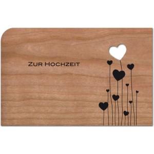 """Holzpost Grußkarte """"Zur Hochzeit"""" mit Herz-Ballons - Holzspielzeug Profi"""