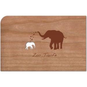 """Holzpost Grußkarte """"Zur Taufe Elefant"""" - Holzspielzeug Profi"""