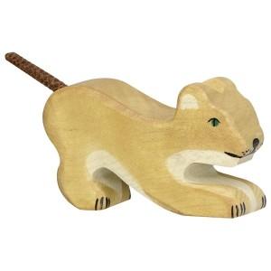 Holztiger Kleiner Löwe spielend - Holzspielzeug Profi