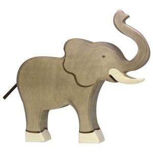 Holztiger Großer Elefant mit erhobenem Rüssel - Holzspielzeug Profi