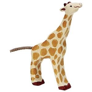 Holztiger Kleine Giraffe fressend - Holzspielzeug Profi
