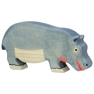 Holztiger Nilpferd Flusspferd fressend - Holzspielzeug Profi