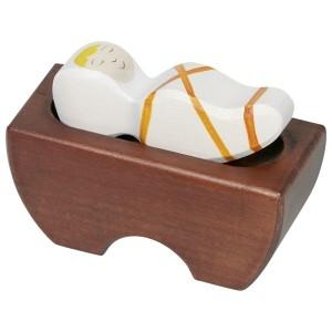 HOLZTIGER Jesuskind mit Krippe orange - Holzspielzeug Profi