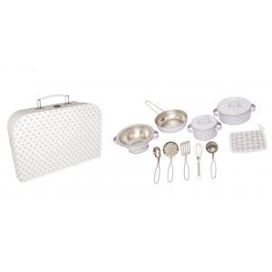 JaBaDaBaDo Küchen-Set im Koffer grau - Holzspielzeug Profi