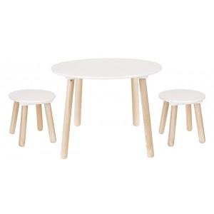 JaBaDaBaDo Runder Kindertisch mit Hockern in weiß-natur - Holzspielzeug Profi