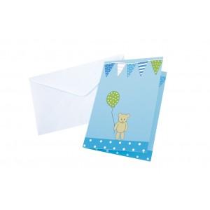 JaBaDaBaDo Einladungskarten zum Kindergeburtstag in blau mit Umschlag: Kalas - Holzspielzeug Profi