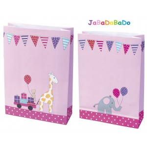 JaBaDaBaDo Partytüten mit Giraffe & Elefant in pink - Holzspielzeug Profi