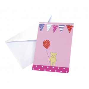 JaBaDaBaDo Einladungskarten zum Kindergeburtstag in pink mit Umschlag: Kalas - Holzspielzeug Profi