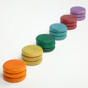 Grapat 18 Scheiben bunt in 6 alternativen Farben - Holzspielzeug Profi